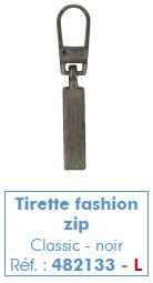 Tirette fashion zip classic argent
